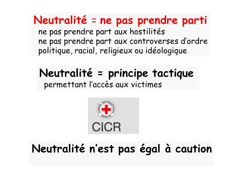 Neutralité = ne pas prendre parti ne pas prendre part aux hostilités ne pas prendre part aux controverses dordre politique, racial, religieux ou idéol
