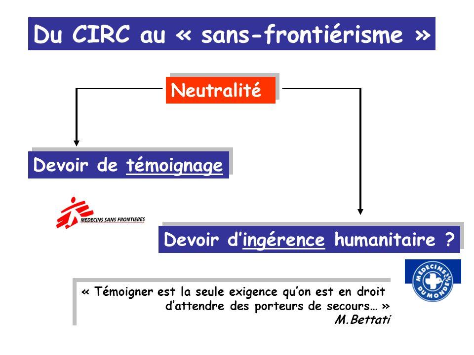 Devoir dingérence humanitaire ? « Témoigner est la seule exigence quon est en droit dattendre des porteurs de secours… » M.Bettati « Témoigner est la