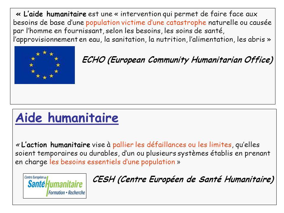 « Laide humanitaire est une « intervention qui permet de faire face aux besoins de base dune population victime dune catastrophe naturelle ou causée p
