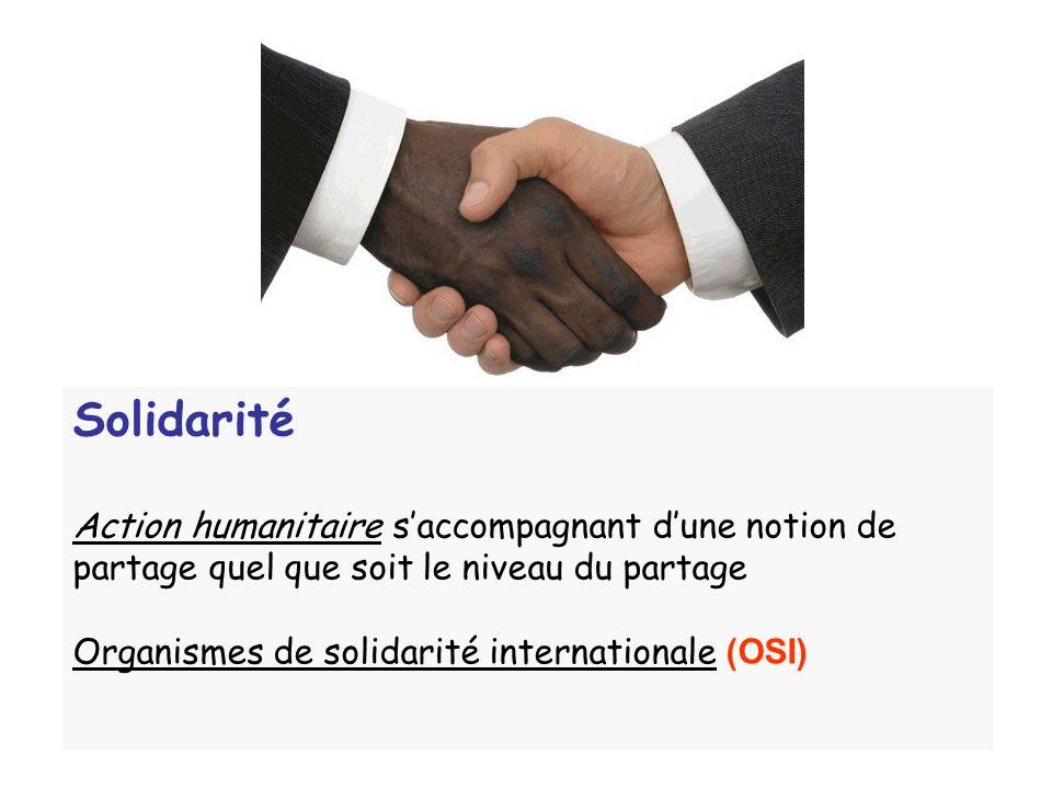 Solidarité Action humanitaire saccompagnant dune notion de partage quel que soit le niveau du partage Organismes de solidarité internationale (OSI)