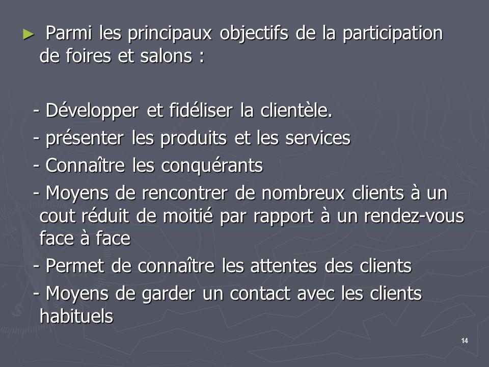 14 Parmi les principaux objectifs de la participation de foires et salons : Parmi les principaux objectifs de la participation de foires et salons : - Développer et fidéliser la clientèle.