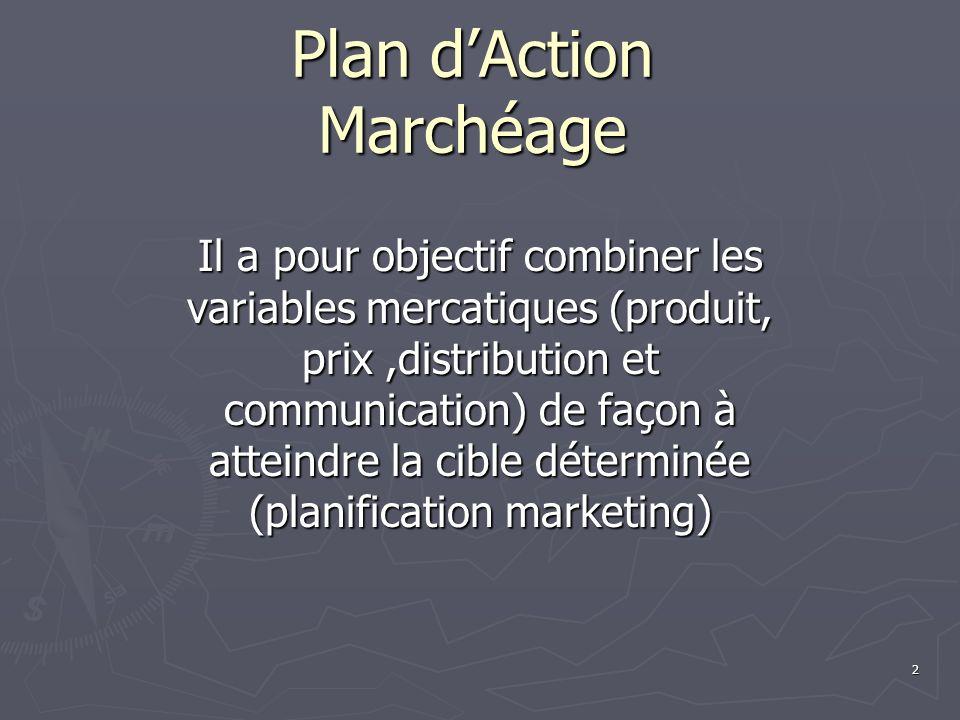 2 Il a pour objectif combiner les variables mercatiques (produit, prix,distribution et communication) de façon à atteindre la cible déterminée (planification marketing)