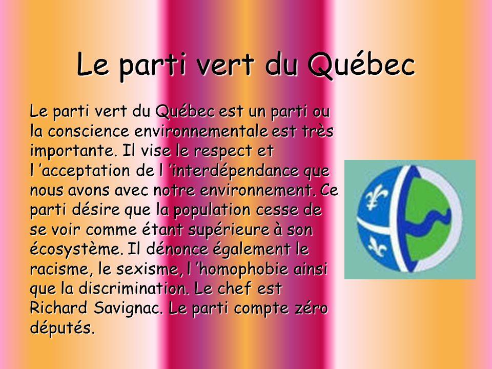 Le parti vert du Québec Le parti vert du Québec est un parti ou la conscience environnementale est très importante. Il vise le respect et l acceptatio