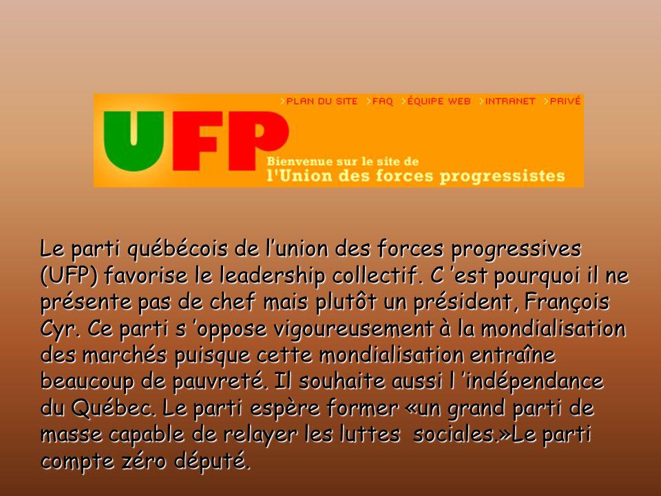 Le parti québécois de lunion des forces progressives (UFP) favorise le leadership collectif. C est pourquoi il ne présente pas de chef mais plutôt un