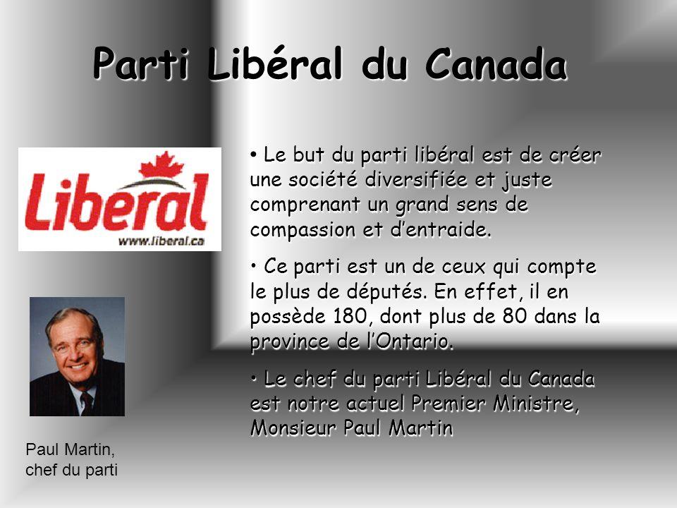 Parti Libéral du Canada Paul Martin, chef du parti Le but du parti libéral est de créer une société diversifiée et juste comprenant un grand sens de c
