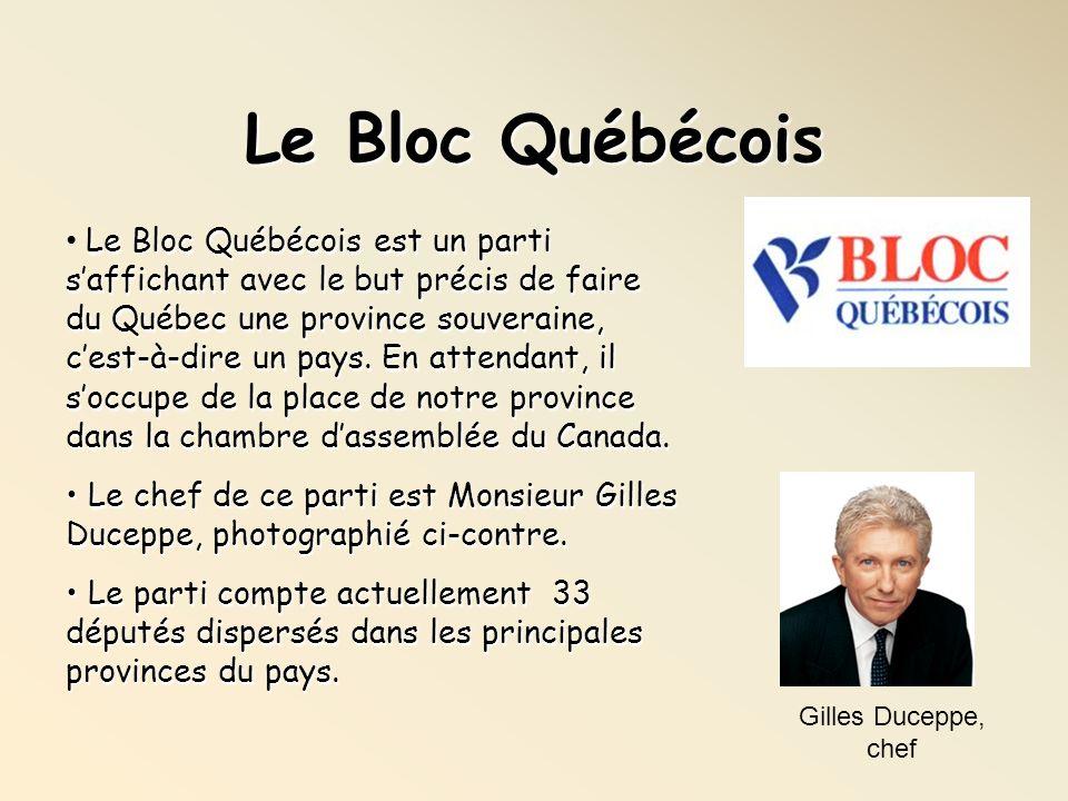Le Bloc Québécois Gilles Duceppe, chef Le Bloc Québécois est un parti saffichant avec le but précis de faire du Québec une province souveraine, cest-à