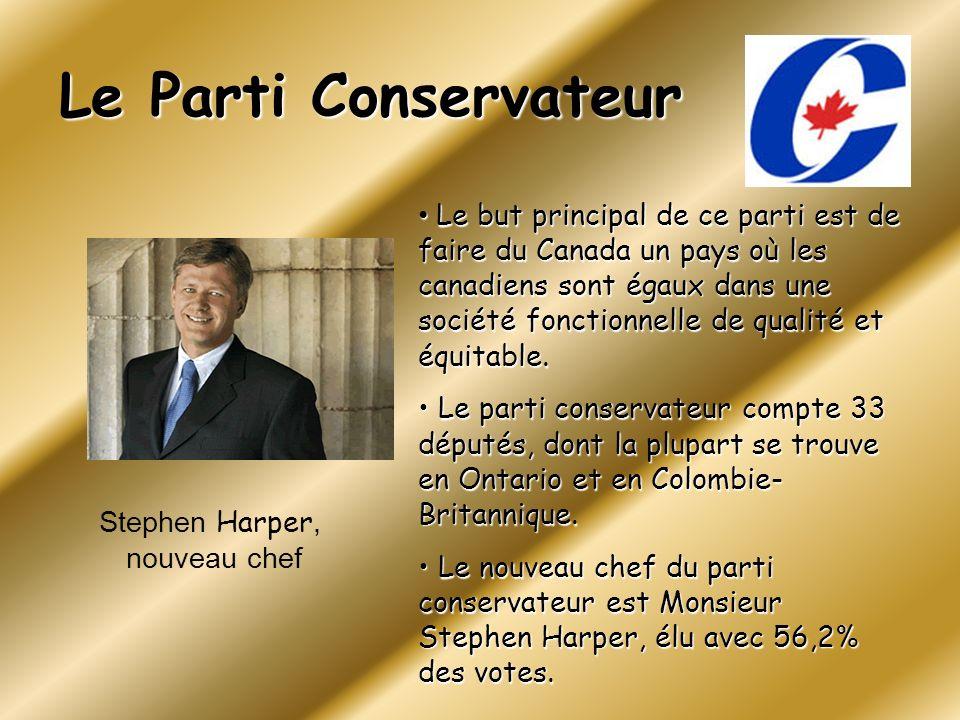 Le Parti Conservateur Le but principal de ce parti est de faire du Canada un pays où les canadiens sont égaux dans une société fonctionnelle de qualit