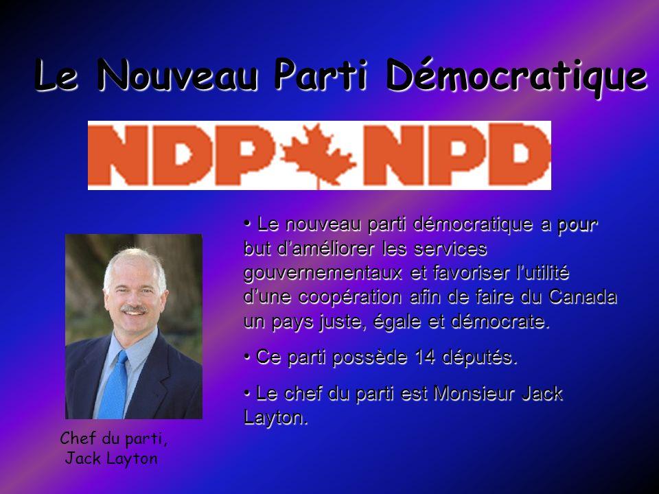 Le Nouveau Parti Démocratique Chef du parti, Jack Layton Le nouveau parti démocratique a pour but daméliorer les services gouvernementaux et favoriser
