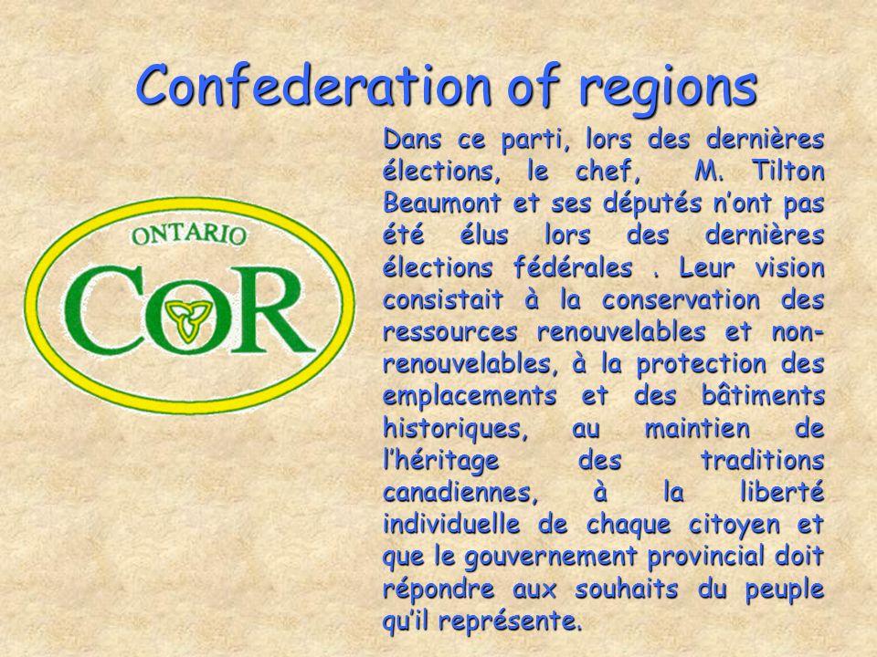 Confederation of regions Dans ce parti, lors des dernières élections, le chef, M. Tilton Beaumont et ses députés nont pas été élus lors des dernières