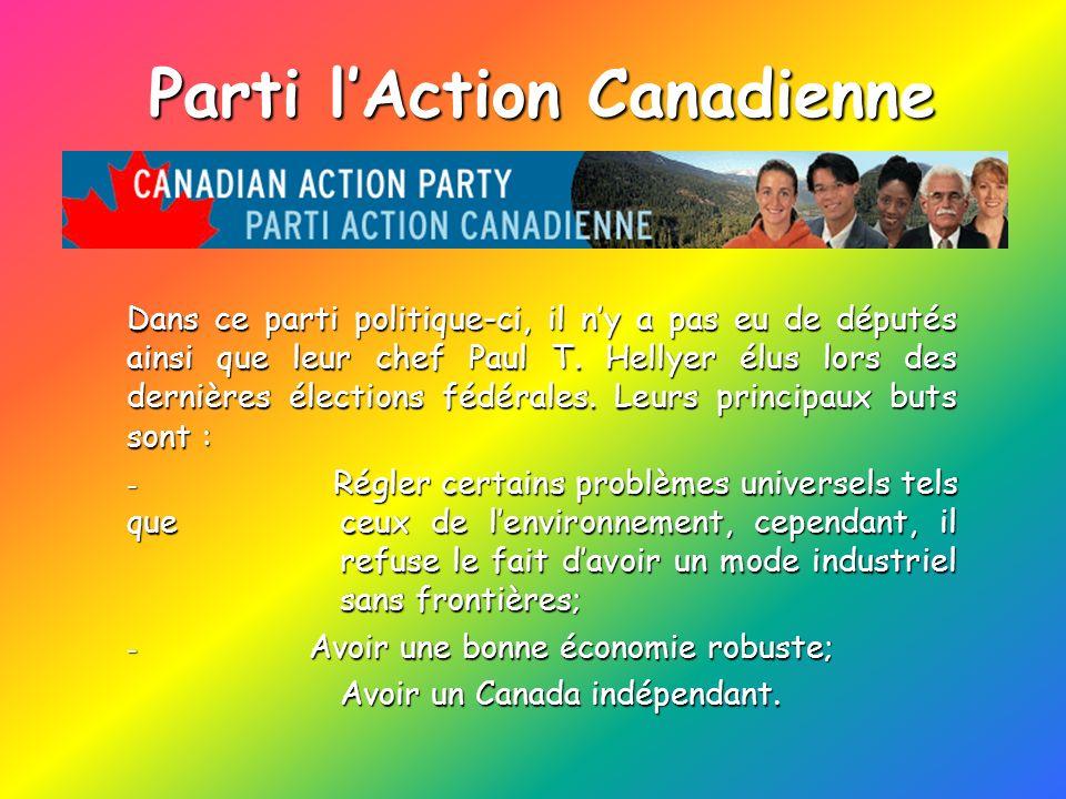 Parti lAction Canadienne Dans ce parti politique-ci, il ny a pas eu de députés ainsi que leur chef Paul T. Hellyer élus lors des dernières élections f