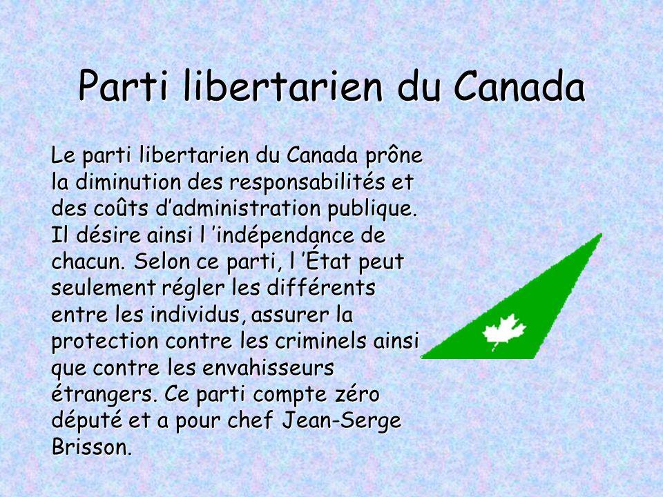 Parti libertarien du Canada Le parti libertarien du Canada prône la diminution des responsabilités et des coûts dadministration publique. Il désire ai