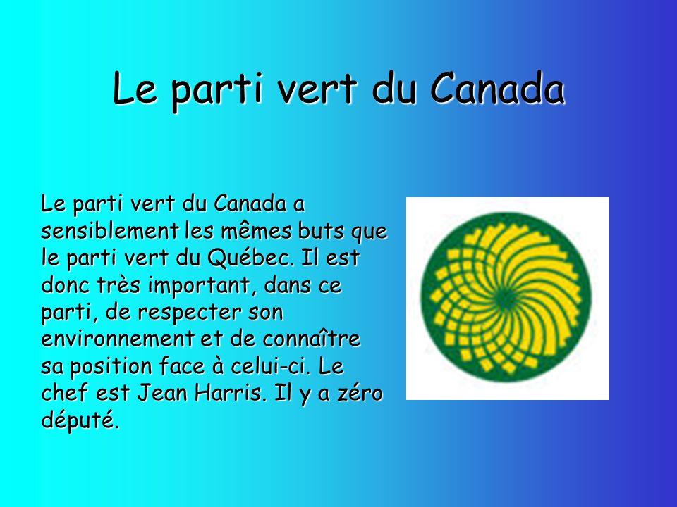 Le parti vert du Canada Le parti vert du Canada a sensiblement les mêmes buts que le parti vert du Québec. Il est donc très important, dans ce parti,