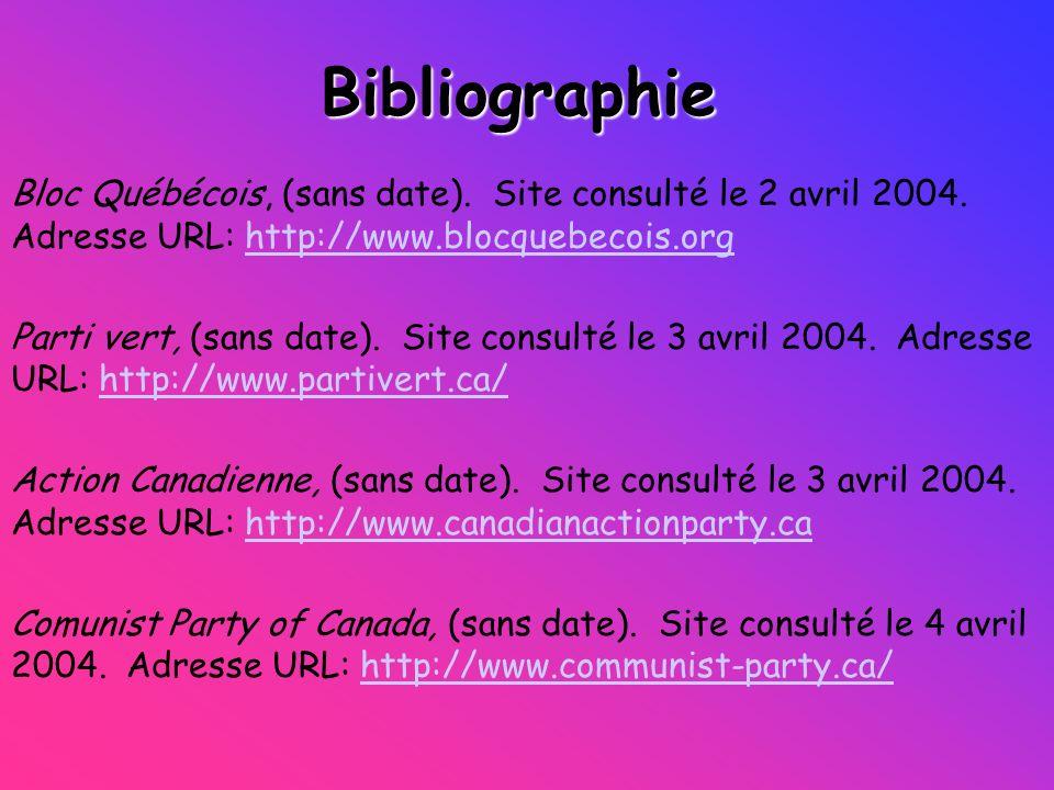 Bibliographie Bloc Québécois, (sans date). Site consulté le 2 avril 2004. Adresse URL: http://www.blocquebecois.orghttp://www.blocquebecois.org Parti
