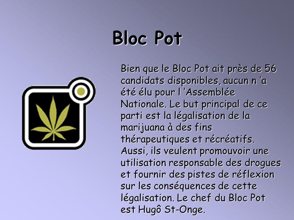 Bloc Pot Bien que le Bloc Pot ait près de 56 candidats disponibles, aucun n a été élu pour l Assemblée Nationale. Le but principal de ce parti est la