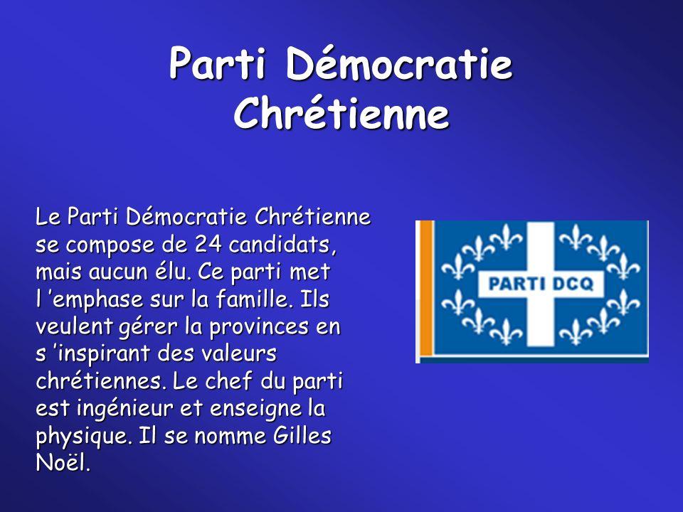 Parti Démocratie Chrétienne Le Parti Démocratie Chrétienne se compose de 24 candidats, mais aucun élu. Ce parti met l emphase sur la famille. Ils veul