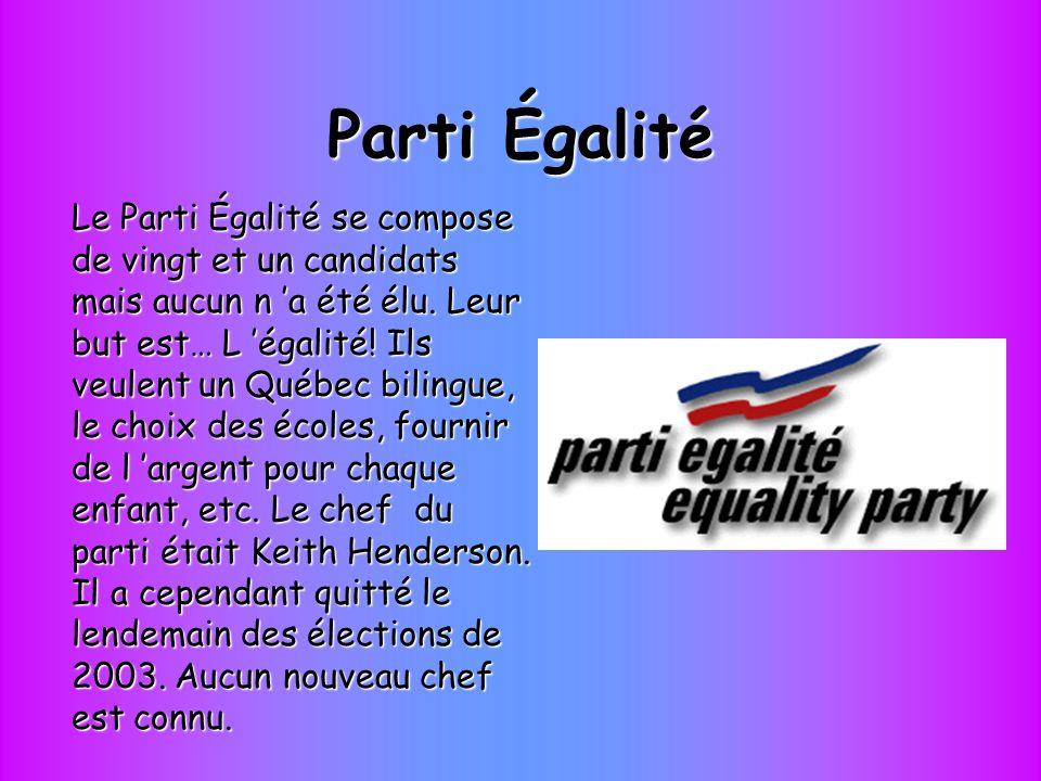 Parti Égalité Le Parti Égalité se compose de vingt et un candidats mais aucun n a été élu. Leur but est… L égalité! Ils veulent un Québec bilingue, le