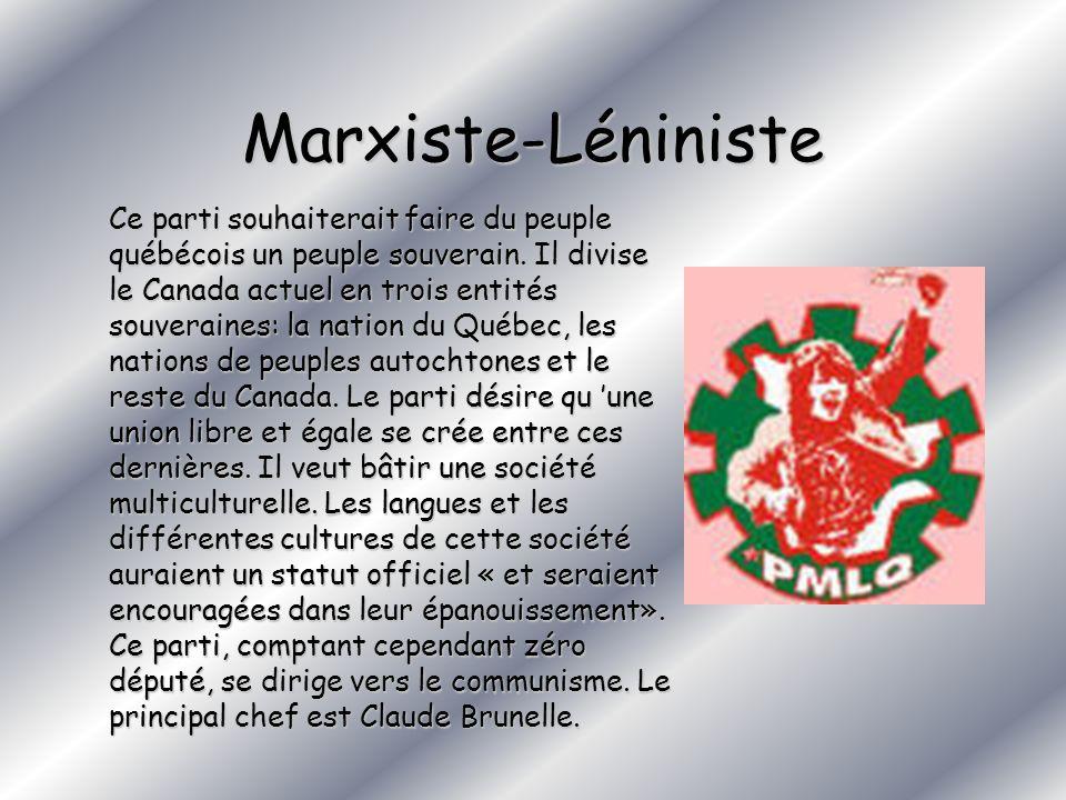 Marxiste-Léniniste Ce parti souhaiterait faire du peuple québécois un peuple souverain. Il divise le Canada actuel en trois entités souveraines: la na