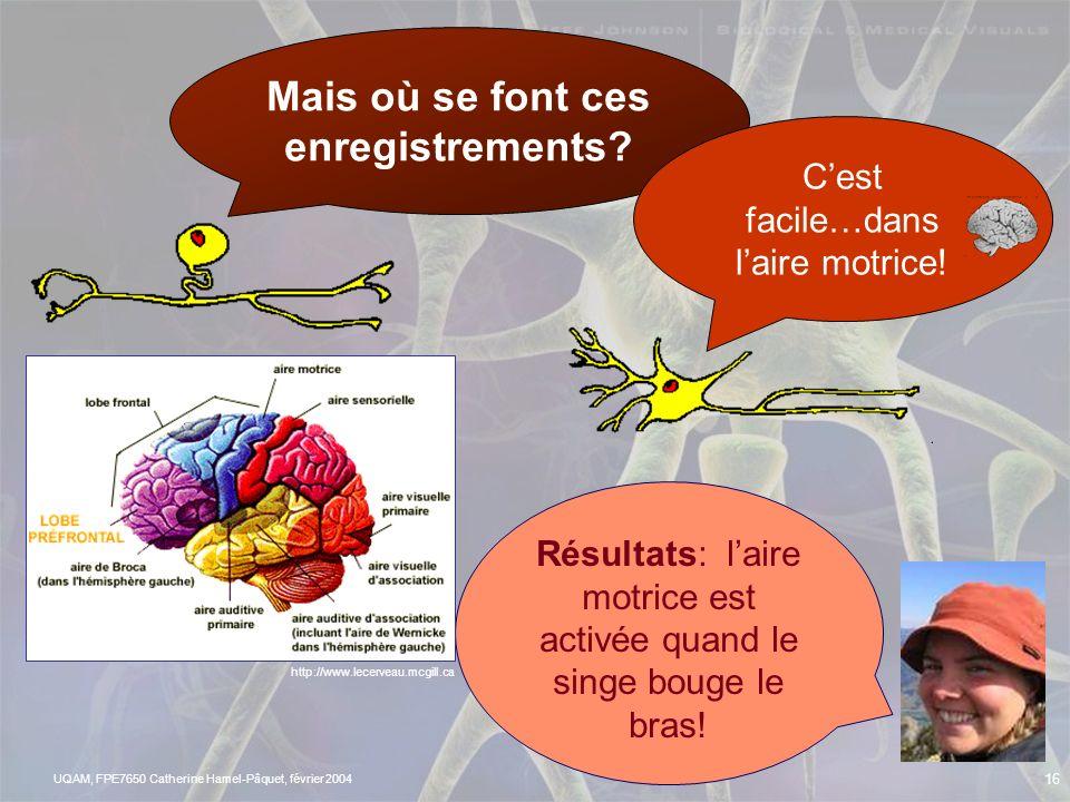 UQAM, FPE7650 Catherine Hamel-Pâquet, février 2004 15 LA DÉCHARGE DES NEURONES Enregistrements cellulaires http://www.lecerveau.mcgill.ca