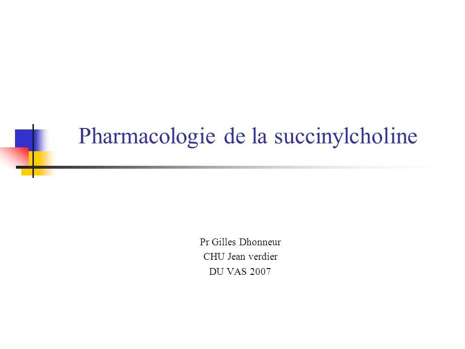 Pharmacologie de la succinylcholine Pr Gilles Dhonneur CHU Jean verdier DU VAS 2007