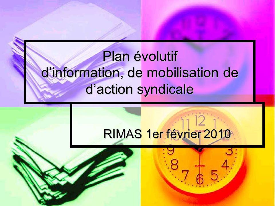 Plan évolutif dinformation, de mobilisation de daction syndicale RIMAS 1er février 2010