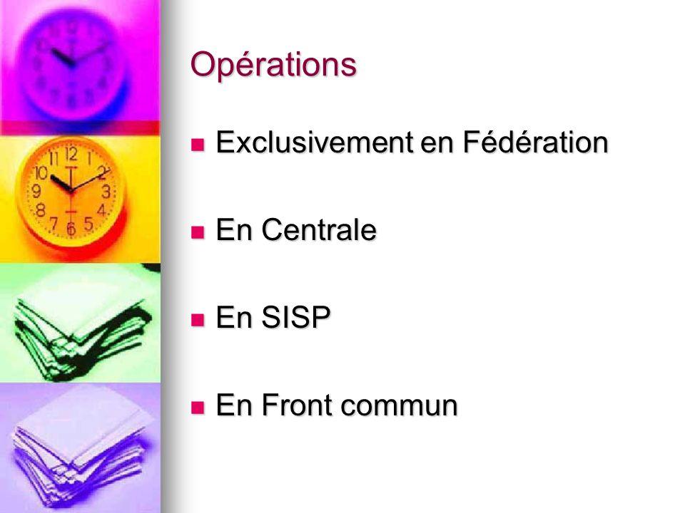 Opérations Exclusivement en Fédération Exclusivement en Fédération En Centrale En Centrale En SISP En SISP En Front commun En Front commun