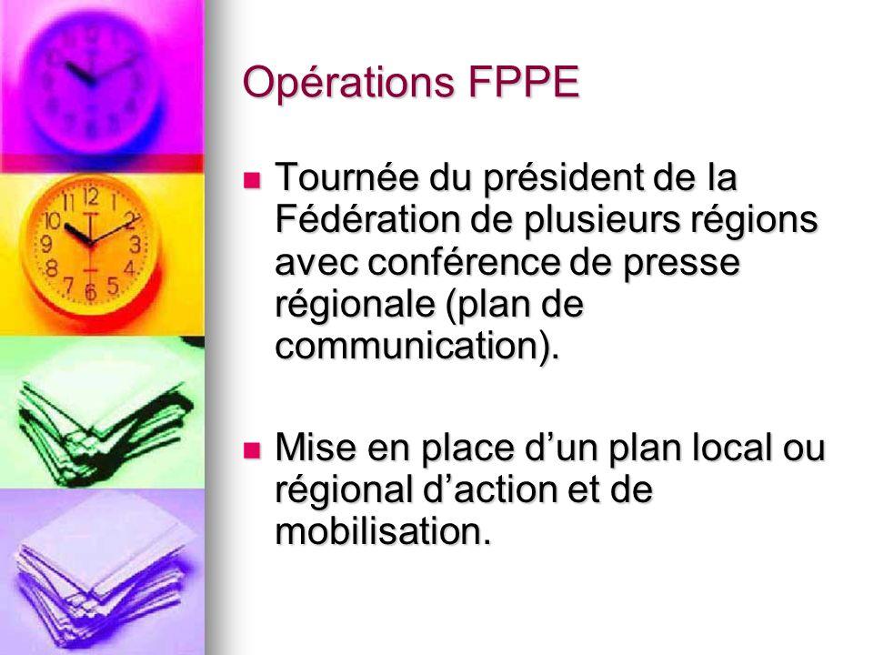 Opérations FPPE Tournée du président de la Fédération de plusieurs régions avec conférence de presse régionale (plan de communication).