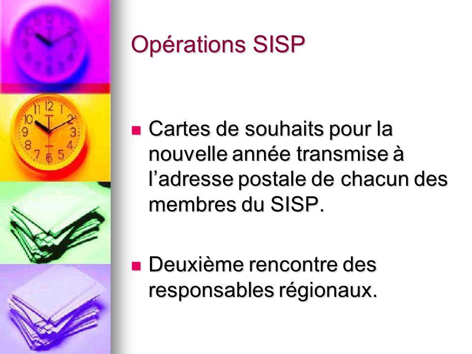 Opérations SISP Cartes de souhaits pour la nouvelle année transmise à ladresse postale de chacun des membres du SISP.