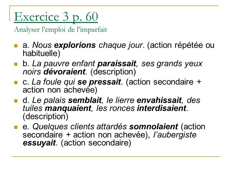 Exercice 3 p.60 Analyser lemploi de limparfait a.