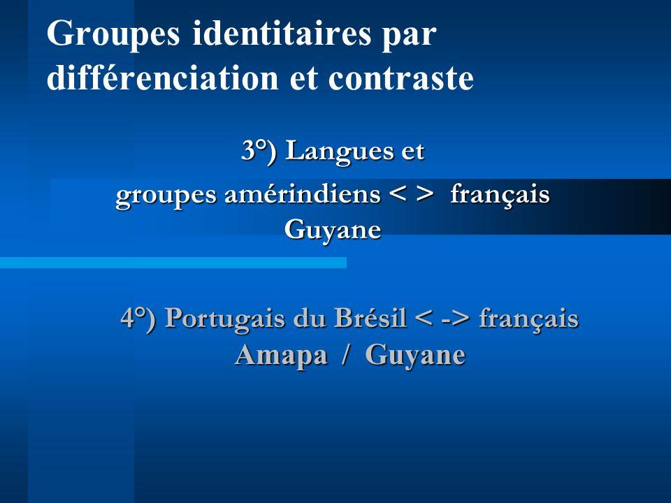 Groupes identitaires par différenciation et contraste 1 °) Espagnol français /créole Cuba, République Dominicaine, Porto Rico / Haïti, Guadeloupe, Mar