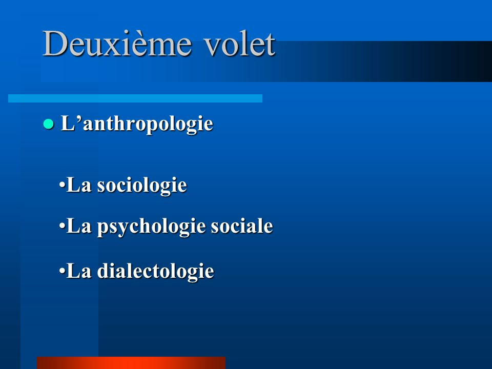 Deuxième volet Lanthropologie Lanthropologie La sociologieLa sociologie La psychologie socialeLa psychologie sociale La dialectologieLa dialectologie