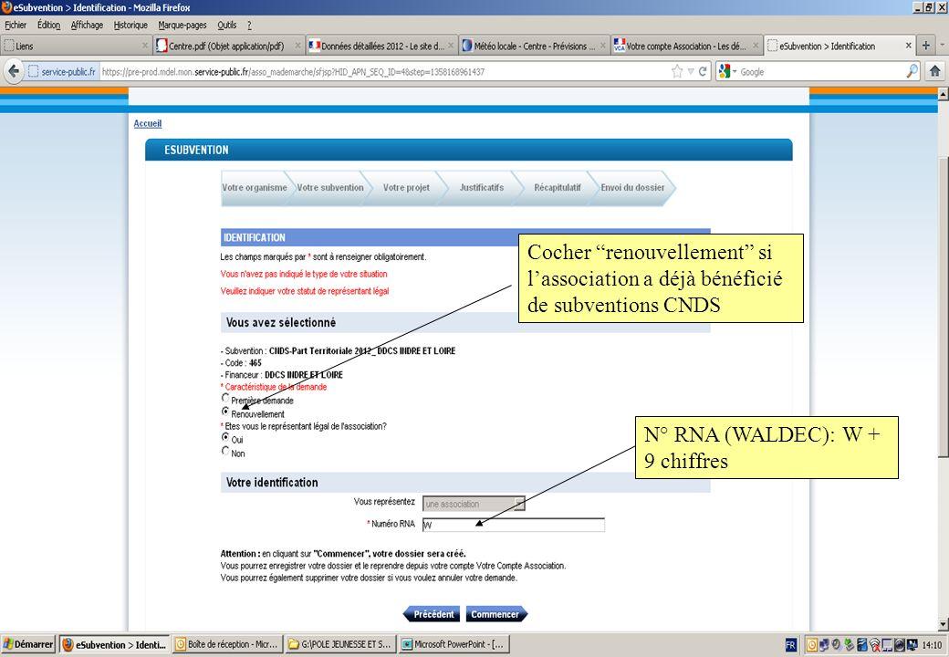 N° RNA (WALDEC): W + 9 chiffres Cocher renouvellement si lassociation a déjà bénéficié de subventions CNDS