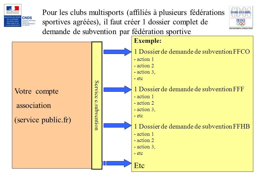 Votre compte association (service public.fr) Service e.subvention Pour les clubs multisports (affiliés à plusieurs fédérations sportives agréées), il