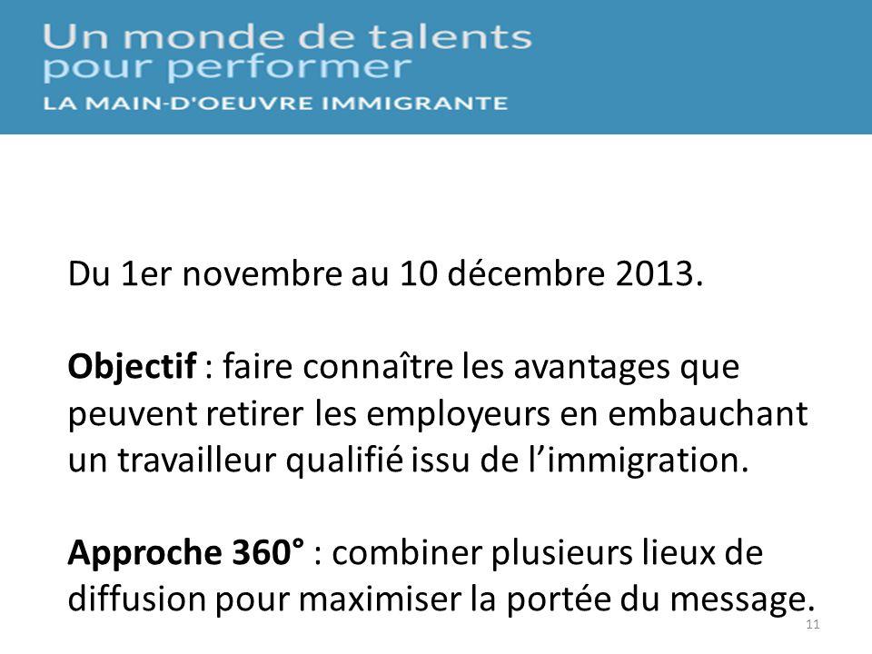 11 5. Campagne dinfluence et de sensibilisation Du 1er novembre au 10 décembre 2013. Objectif : faire connaître les avantages que peuvent retirer les