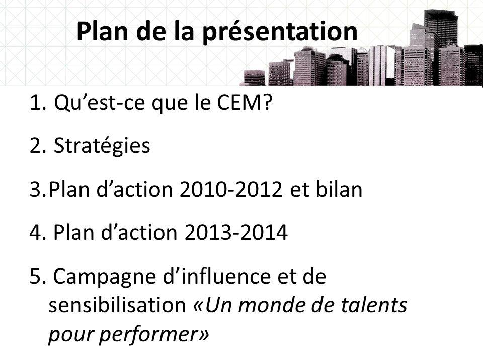 2 Plan de la présentation 1. Quest-ce que le CEM? 2. Stratégies 3.Plan daction 2010-2012 et bilan 4. Plan daction 2013-2014 5. Campagne dinfluence et