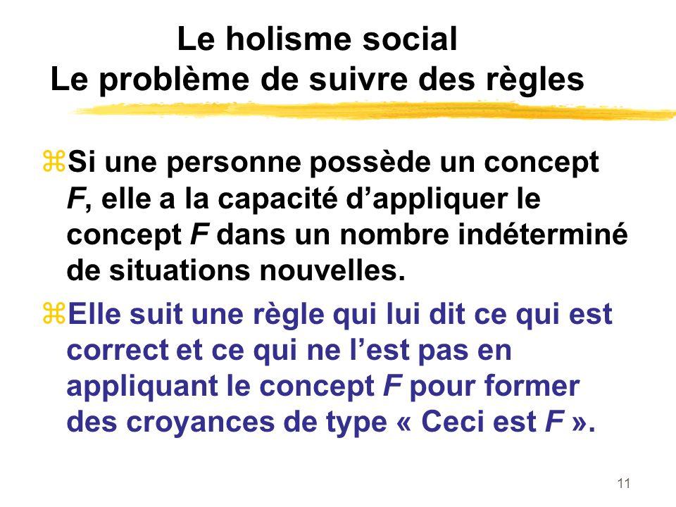 11 Le holisme social Le problème de suivre des règles Si une personne possède un concept F, elle a la capacité dappliquer le concept F dans un nombre