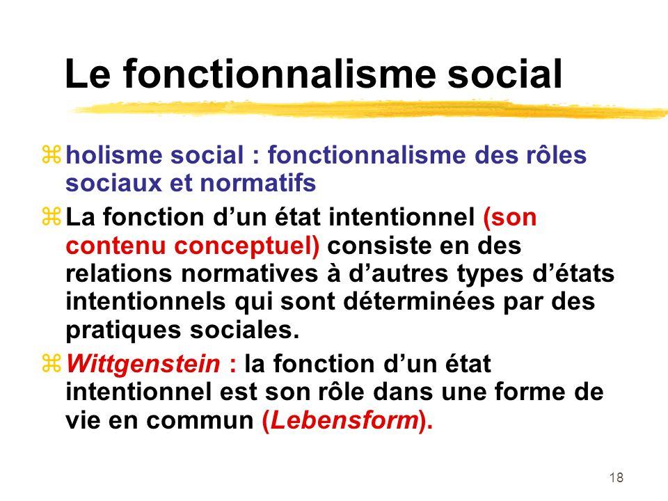 18 Le fonctionnalisme social holisme social : fonctionnalisme des rôles sociaux et normatifs La fonction dun état intentionnel (son contenu conceptuel