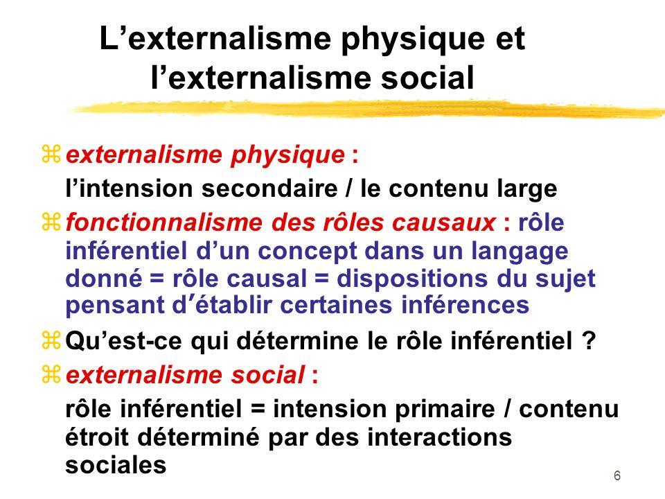 6 Lexternalisme physique et lexternalisme social externalisme physique : lintension secondaire / le contenu large fonctionnalisme des rôles causaux :