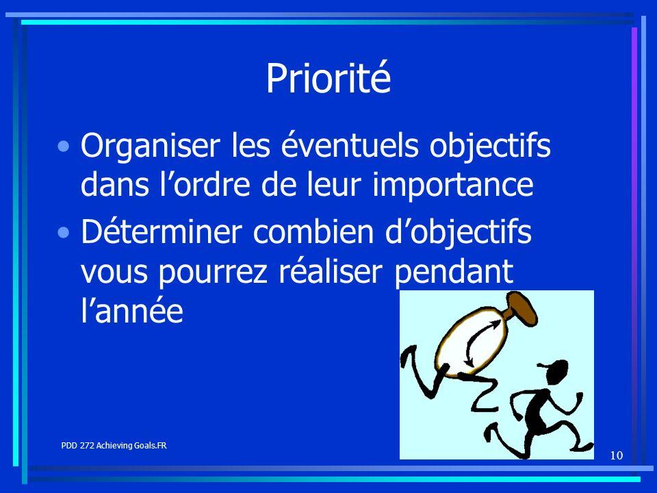 10 Priorité Organiser les éventuels objectifs dans lordre de leur importance Déterminer combien dobjectifs vous pourrez réaliser pendant lannée PDD 27