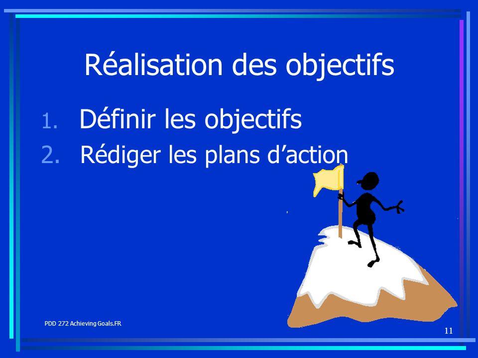 11 Réalisation des objectifs 1. Définir les objectifs 2. Rédiger les plans daction PDD 272 Achieving Goals.FR