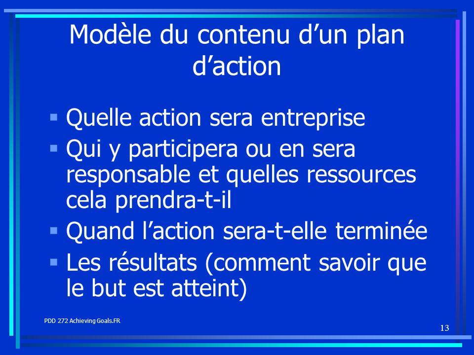 13 Modèle du contenu dun plan daction Quelle action sera entreprise Qui y participera ou en sera responsable et quelles ressources cela prendra-t-il Q