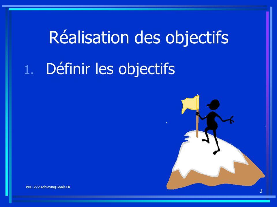 3 Réalisation des objectifs 1. Définir les objectifs PDD 272 Achieving Goals.FR