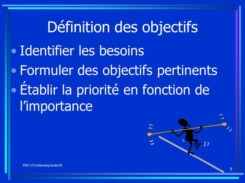 5 Définition des objectifs Identifier les besoins Formuler des objectifs pertinents Établir la priorité en fonction de limportance PDD 272 Achieving G