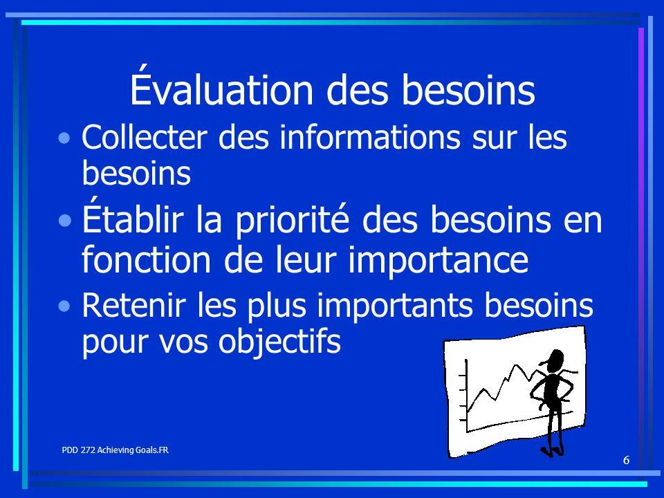 6 Évaluation des besoins Collecter des informations sur les besoins Établir la priorité des besoins en fonction de leur importance Retenir les plus im