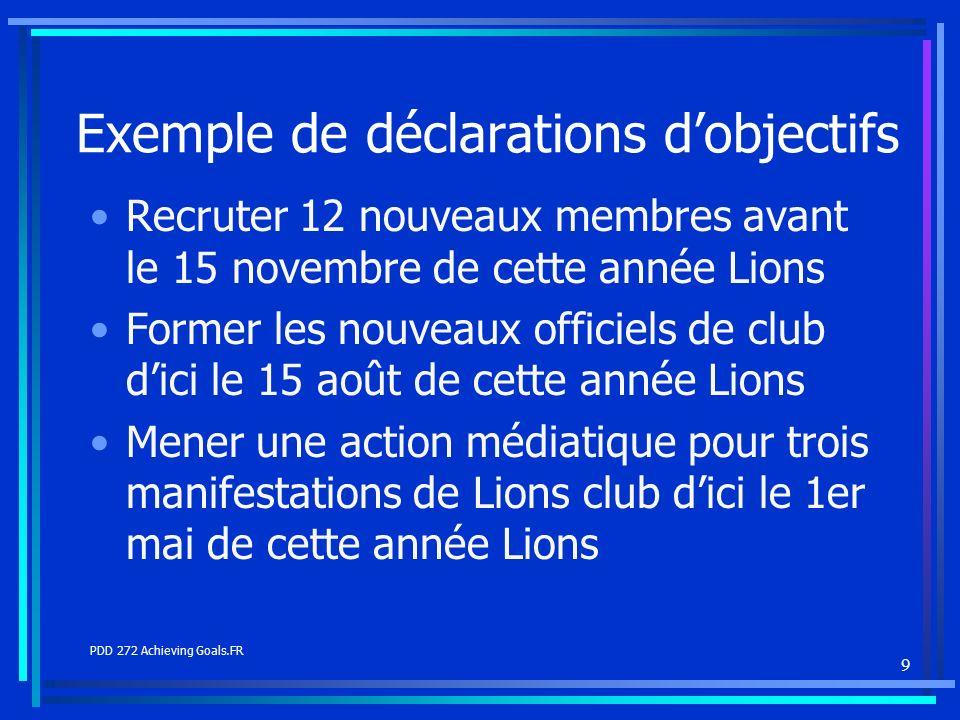 9 Exemple de déclarations dobjectifs Recruter 12 nouveaux membres avant le 15 novembre de cette année Lions Former les nouveaux officiels de club dici