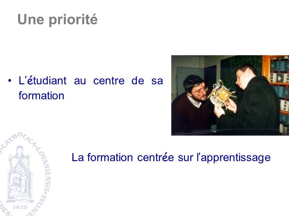 L é tudiant au centre de sa formation La formation centr é e sur l apprentissage Une priorité