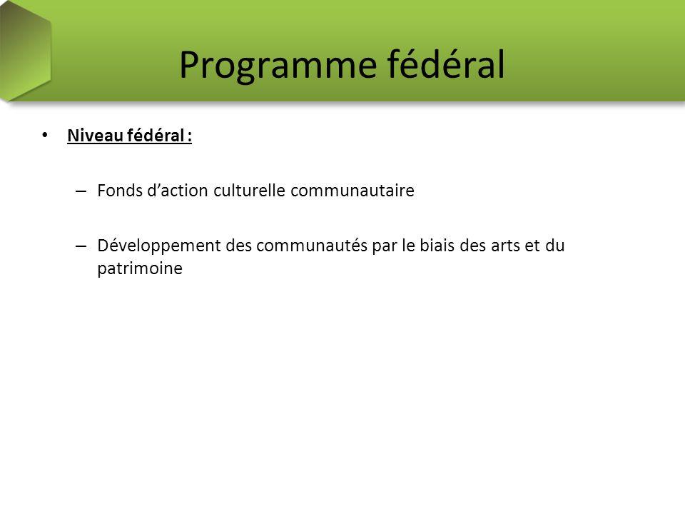 Programme fédéral Niveau fédéral : – Fonds daction culturelle communautaire – Développement des communautés par le biais des arts et du patrimoine