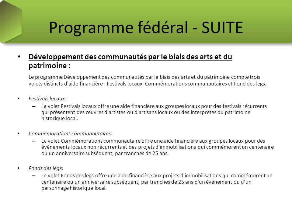 Programme fédéral - SUITE Développement des communautés par le biais des arts et du patrimoine : Le programme Développement des communautés par le bia