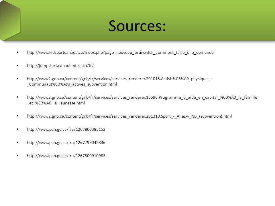 Sources: http://www.kidsportcanada.ca/index.php page=nouveau_brunswick_comment_faire_une_demande http://jumpstart.canadiantire.ca/fr/ http://www2.gnb.ca/content/gnb/fr/services/services_renderer.201013.Activit%C3%A9_physique_- _Communaut%C3%A9s_actives_subvention.html http://www2.gnb.ca/content/gnb/fr/services/services_renderer.16596.Programme_d_aide_en_capital_%C3%A0_la_famille _et_%C3%A0_la_jeunesse.html http://www2.gnb.ca/content/gnb/fr/services/services_renderer.201310.Sport_-_Allez-y_NB_(subvention).html http://www.pch.gc.ca/fra/1267800383152 http://www.pch.gc.ca/fra/1267799042836 http://www.pch.gc.ca/fra/1267800910983