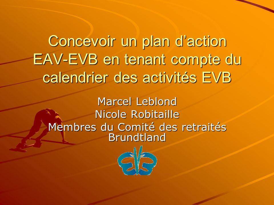 Concevoir un plan daction EAV-EVB en tenant compte du calendrier des activités EVB Marcel Leblond Nicole Robitaille Membres du Comité des retraités Brundtland
