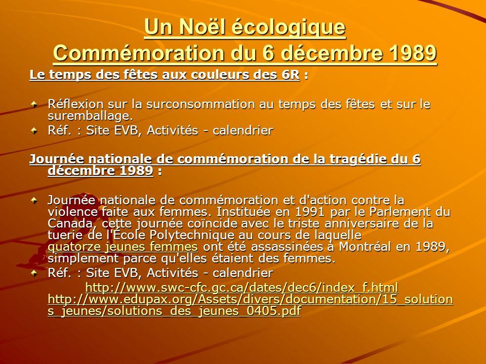 Un Noël écologique Commémoration du 6 décembre 1989 Le temps des fêtes aux couleurs des 6R : Réflexion sur la surconsommation au temps des fêtes et sur le suremballage.